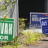 Newburyport: Politcal signs along Merrimac Street in Newburyport.Jim Vaiknoras/staff photo.