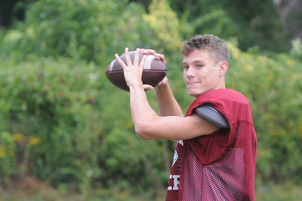 newburyport: Clipper Quarterback Michael Shay at practice. Jim Vaiknoras/staff photo