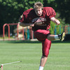 Byfield: The Governr's Academy's Will Dwyer booms a 40 yard field goal at practice friday. Jim Vaiknoras/staff photo