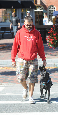 Newburyport: Donny Jarvis and his  dog Mocha, Jarvis suffers from PTSD and is hoping to raise awairness and funds for treatment of other with the disorder. JIm VAiknoras/staff photo