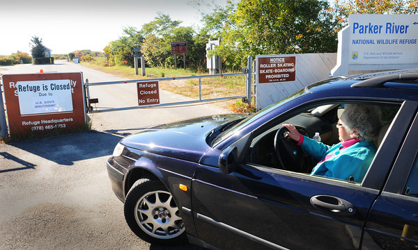 Newbury: A woman, who only identified herself as Nancy, drove from North Andover to the Parker River National Wildlife Refuge yesterday only to find it closed due to the U.S. government shutdown.  Bryan Eaton/Staff Photo