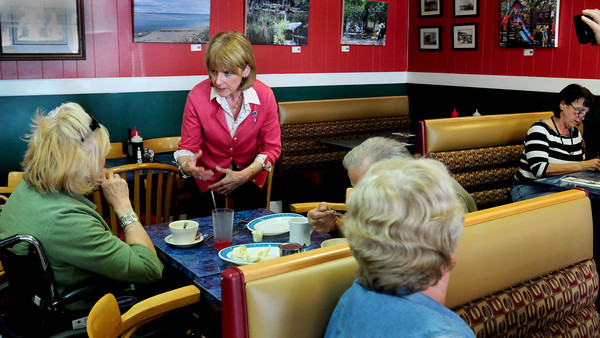 Newburyport: Attorney General Martha Coakley, who's running for governor of Massachusetts, met with patrons at Angie's Foods in Newburyport eliciting their concerns of the day. Bryan Eaton/Staff Photo