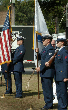 Salisbury: A military color guard opened ceremonies for Salisbury's 375th Anniversary on Saturday on the town common. Bryan Eaton/Staff Photo