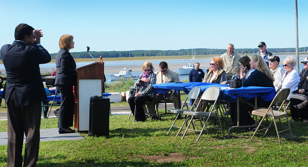 Seabrook: Seabrook selectmen chairman Aboul Kahn, left,  applauds NH Governor Maggie Hassan as she spoke at the dedication of Harborside Park at Seabrook Beach on Tuesday afternoon. Bryan Eaton/Staff Photo