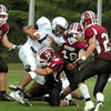 Byfield: The Governor's Academy defense brings down a Lawrence Academy player. Bryan Eaton/Staff Photo