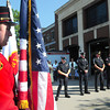 Amesbury: Amesbury firefighters and police officers along with private citizens attended a ceremony outside the fire station yesterday morning to honor those who died in the 911 terrorist attacks. Several local people perished in the attacks 12 years ago yesterday.  Bryan Eaton/Staff Photo