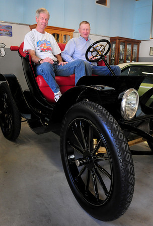 Amesbury: Jeff Picard, left, and Bart Bailey will be taking this 1911 Bailey Electric Phaton to the Boston Cup car show this weekend. Bryan Eaton/Staff Photo