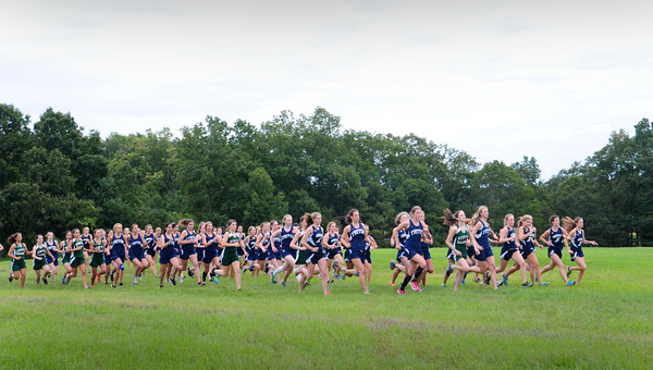 Newbury: Triton girls cross country runners, along with Hamilton-Wenham and North Reading, compete on a new course off Newman Road in Newbury at Old Town Hill. Bryan Eaton/Staff Photo
