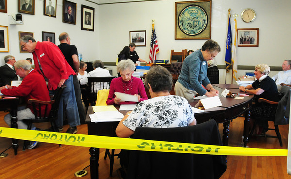 Newburyport: A recount of the Newburyport mayoral primary took place yesterday called by Greg Earls who received 53 less votes than Richard Sullivan Jr. Mayor Donna Holaday received the most votes and will face Sullivan in November as he still had more votes than Earls. Bryan Eaton/Staff Photo