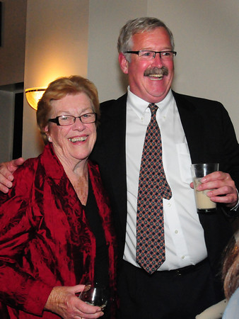 Newburyport: Newburyport mayoral candidate Richard Sullivan, Jr. celebrates his second place showing with his mother Laurine at the Starboard Galley. Bryan Eaton/Staff Photo