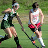 Amesbury: Pentucket's Carley DesJardins moves in on Amesbury's Kiara Loh. Bryan Eaton/Staff Photo