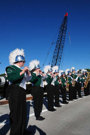 Groveland: The Pentucket High Marching Band plays the National Anthem  at the dedication of the new Bates Bridge which opens today connecting Haverhill and Groveland. Bryan Eaton/Staff Photo