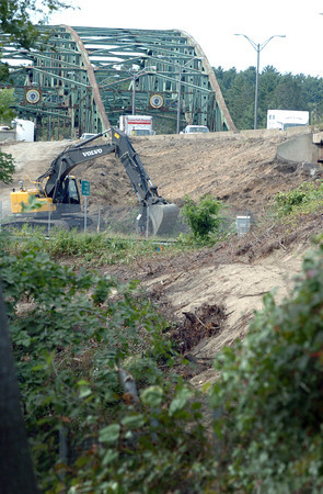 Amesbury: The Whittier Bridge, which is being rebuilt, can be easily seen from Merrill Street in Amesbury after trees and brush have been cleared for the construction. Bryan Eaton/Staff Photo