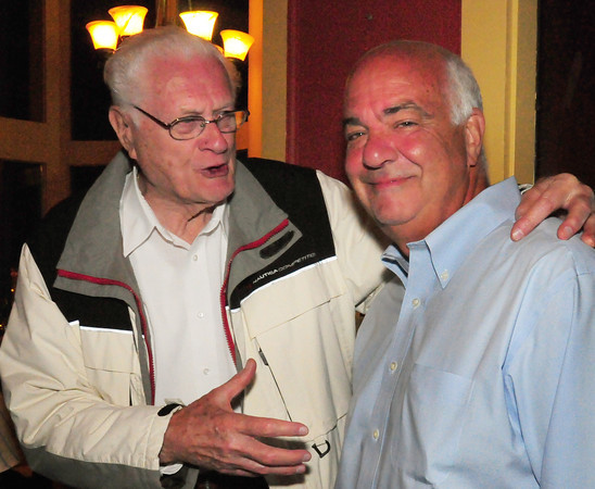 Amesbury: Amesbury resident and World War II veteran Joseph M. Greaney, left, congratulates Amesbury mayoral candidate Kevin Gray who bested incumbent Mayor Thatcher Kezer in the primary election. Bryan Eaton/Staff Photo