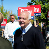 Amesbury: Amesbury mayoral candidate Ken Gray greets voters outside the polls at Amesbury High School. Bryan Eaton/Staff Photo