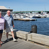 Newburyport: Gerri Beck and her husband, Jack, walk along Newburyport's waterfront boardwalk. Bryan Eaton/Staff Photo