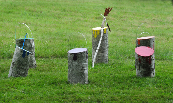 "Newburyport: One of the sculptures at Maudslay State Park, ""Paint Cans"" by Jen Wright and the Morris Family. Bryan Eaton/Staff Photo"
