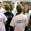 "Newburyport: Newburyport High students show support with t-shirts saying ""Clippers for a Cure"" and ""Pink I Can."" Bryan Eaton/Staff Photo"