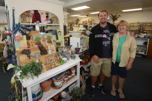 JIM VAIKNORAS/staff photo Jon Werner and Etta Hallowell at Leeward Light Thrift shop in Salisbury biz section photos 2014