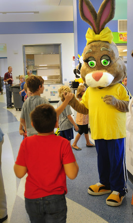 """BRYAN EATON/ Staff Photo. Ava Live, the life sized rabbit and """"Nutrition Ambassador"""" for Chartwells, which runs the food service for Newburyport Schools, greets students as they head into the Bresnahan School cafeteria. It was part of the grand opening of the new cafeteria with a ribbon cutting and a special treat for students from Orange Leaf Frozen Yogurt and coloring books from the New England Dairy Council."""
