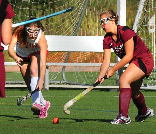 BRYAN EATON/ Staff Photo. Amesbury's Kate Gagnon and Rockport's Heidi Warde follow the ball.