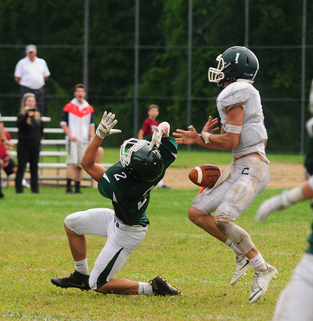 JIM VAIKNORAS/Staff photo Pentucket's Matt McGrail tries to make a play on a pass  during their game against Canton Saturday at Pentucket. The Sachems lost the game 6-0.