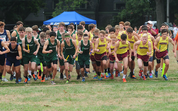 JIM VAIKNORAS/Staff photo The boys take off at the start during the Clipper Relay Saturday at Maudslayin Newburyport.