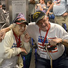 JIM VAIKNORAS/Staff photo Josephine Miller of Foxboro and Authur Bibeau of Merrimac Ma. talk at BWI airport in Baltimore.