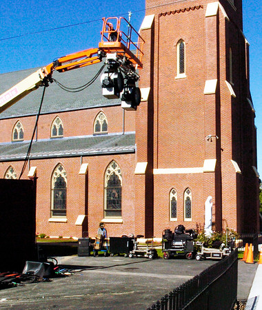 """BRYAN EATON/Staff photo. Filming is starting this week of the movie """"Chappaquiddick"""" of an accident almost 50 years ago in which the late Sen. Ted Kennedy was involved. Lighting equipment was set up Tuesday afternoon next to the Immaculate Conception Church."""