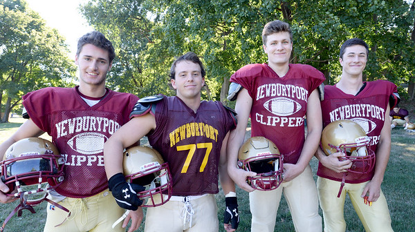 BRYAN EATON/Staff photo. Newburyport High football players, from left, Rob Frederico, Scott Childs, Connor Smith and Matt Raven.