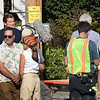 """BRYAN EATON/Staff photo. Actor Jason Clark who is portraying Sen. Ted Kennedy in the movie that had the working name """"Chappaquiddick"""" exits the driveway of the Clark-Currier Inn druing filming on Green Street in Newburyport."""
