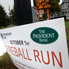 BRYAN EATON/Staff photo. Traffic signs around downtown Amesbury warn of traffic delays for the Fireball Run on Saturday.