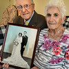 BRYAN EATON/Staff photo. High school sweethearts Leo and Gloria Tremblay of Salisbury celebrate their 70th wedding anniversary today. He was in the Pacific during World War II and they married three months after he returned.
