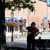 JIM VAIKNORAS/Staff photo Lewis Flowers of Haverhill plays violin in Market Square in Newburyport Friday.