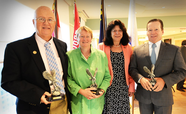 BRYAN EATON/Staff photo. 2016 Newburyport Distinguished Citizens who were honored at Mayor Donna Holaday's Breakfast for Scouting are from left, Thomas F. O'Brien, Ghlee E. Woodworth, Holaday and Steven D. HInes.
