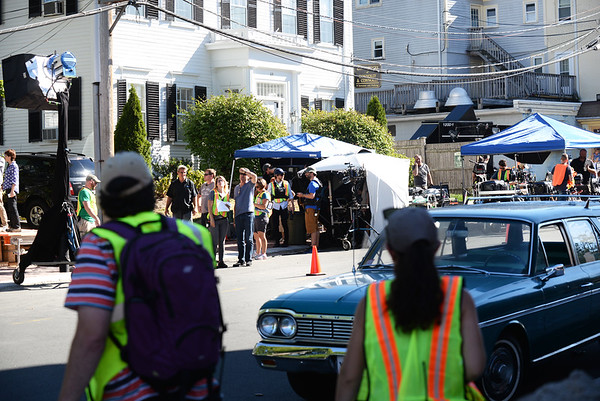"""BRYAN EATON/Staff photo. Green Street in Newburyport was closed off between High and Washington Streets for the movie with the working title """"Chappaquiddick."""""""