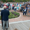JIM VAIKNORAS/Staff photo rev Doug Johnson speaks as hundreds gather for the Relocation Ceremony for the Newburyport Fisherman's Memorial on the boardwalk on the Newburyport Waterfront Monday morning.
