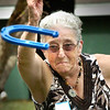 BRYAN EATON/Staff Photo. Ann Barclay of Seabrook was serious about her horseshoe game at the Salisbury Council on Aging's Senior Field Day held at Lion's Park. She said she loves the game but hasn't really played since she was a youngster.