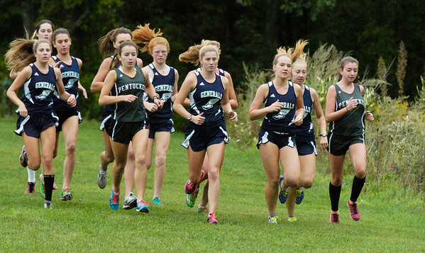BRYAN EATON/Staff photo. Pentucket and Hamilton-Wenham girls head out on the course.