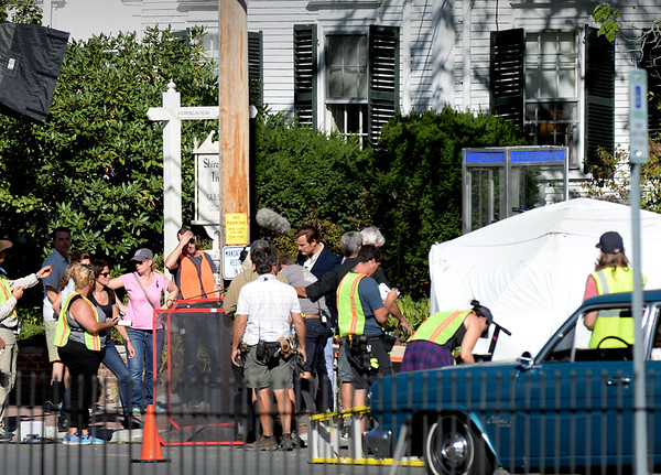 "BRYAN EATON/Staff photo. Filming of the movie with the working name ""Chappaquiddick"" took place in several areas around Newburyport Tuesday, here at the Clark Currier Inn on Green Street. Portraying Ted Kennedy is Jason Clarke seen just right of the utility pole."