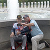 JIM VAIKNORAS/Staff photo World War 2 veteran Dexter Murray and his son in law Jonathan Pratt take a selfie at the WW2 Memorial in Washington DC Sunday, they were part of a group  who flew from Boston for the day with Honor Flight New England, a no profit out of Hocksett New Hampshire that provide flght to and tours of the capital.