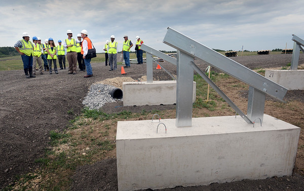 BRYAN EATON/Staff photo. Amesbury officials toured the new solar farm going up on South Hunt Road on Thursday afternoon,