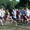 BRYAN EATON/Staff photo. The Newburyport High boys cross country team  warm up at Maudslay State Park.