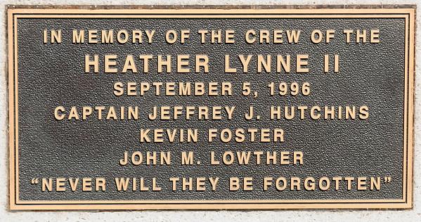 JIM VAIKNORAS/Staff photo Plaque at the Heather Lynne II memorial in Newburyport.
