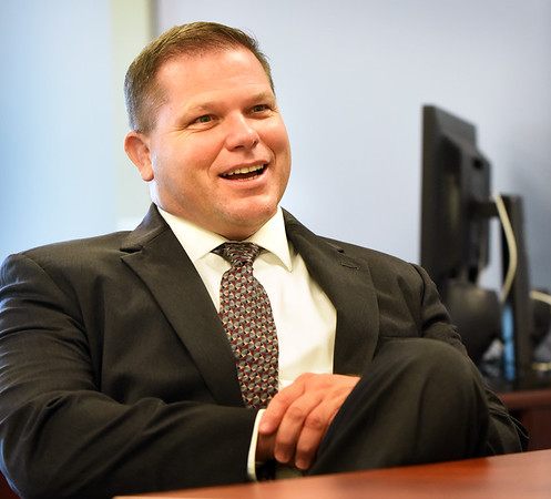BRYAN EATON/Staff photo. Sean Gallagher, new superintendent of Newburyport Schools, sits down with the Daily News.