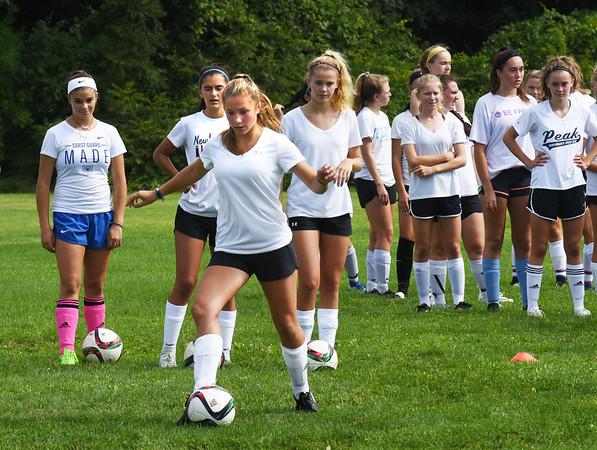 BRYAN EATON/Staff photo. Newburyport girls soccer tryouts at Fuller Field in Newburyport.