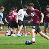 BRYAN EATON/Staff photo. Newburyport boys soccer tryouts at Fuller Field in Newburyport on Thursday morning.