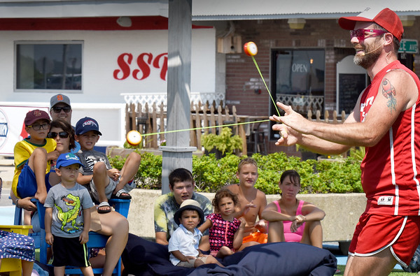 BRYAN EATON/Staff photo. The Yo-yo Guy, a.k.a. John Higby, brought his level of comedy and skill to Salisbury Beach Center on Tuesday morning. The show was one of the continuing series of Kids Day at Salisbury Beach on Tuesdays.