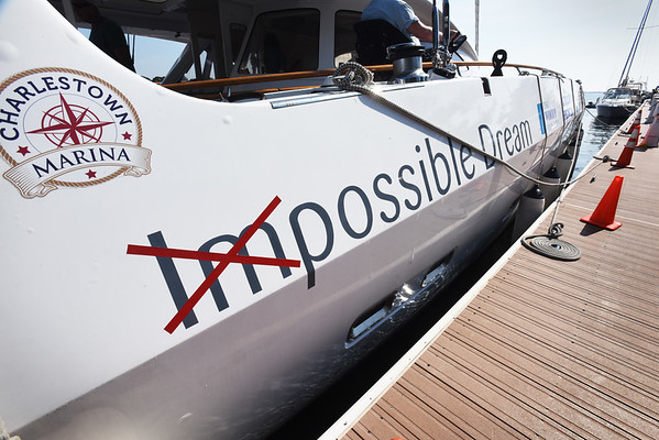 BRYAN EATON/Staff photo. Good things are possible on the Impossible Dream catamaran.