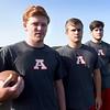 BRYAN EATON/Staff photo. Amesbury High School football captains, from left, Austin Hallisey, Jake Hamel, Matt Scibelli and Noah Cotrupi.